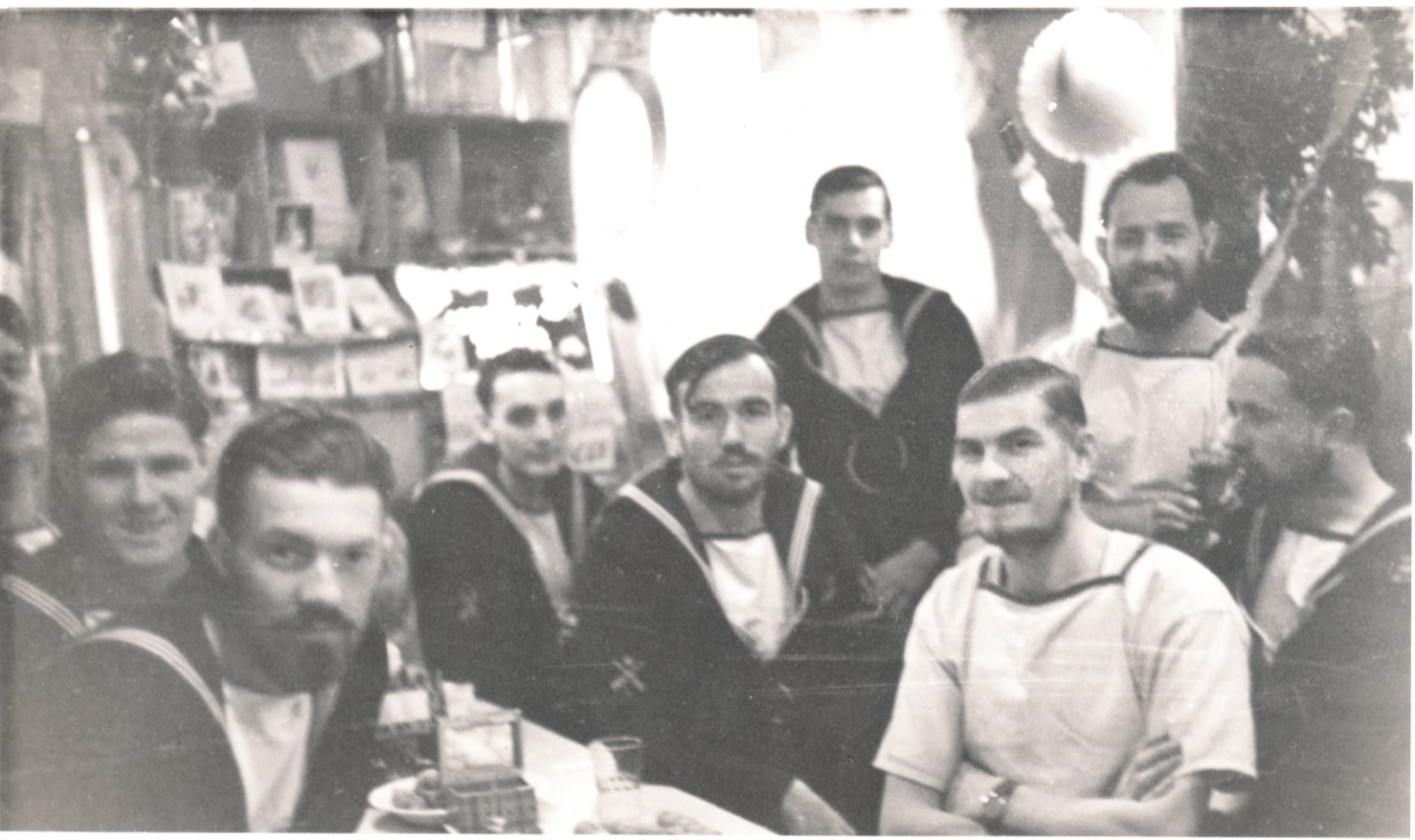 Lads of the Mess Xmas 1949 Peter Hornett middle back seated