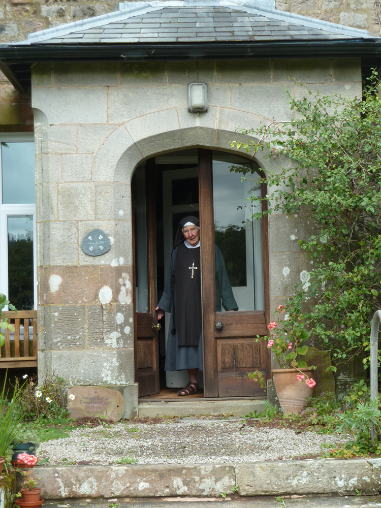 Sister V at the door to Ty MawrExterior