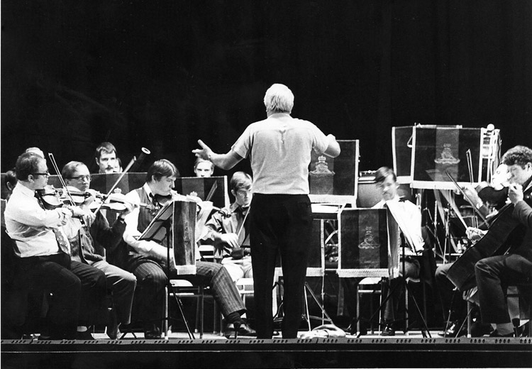 Ted Heath former PM conducting RA Orchestra 1977